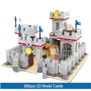 686pcs City 3D Model building blocks medieval knight castle prince figures horse bricks Compatible All Brands toys for kids