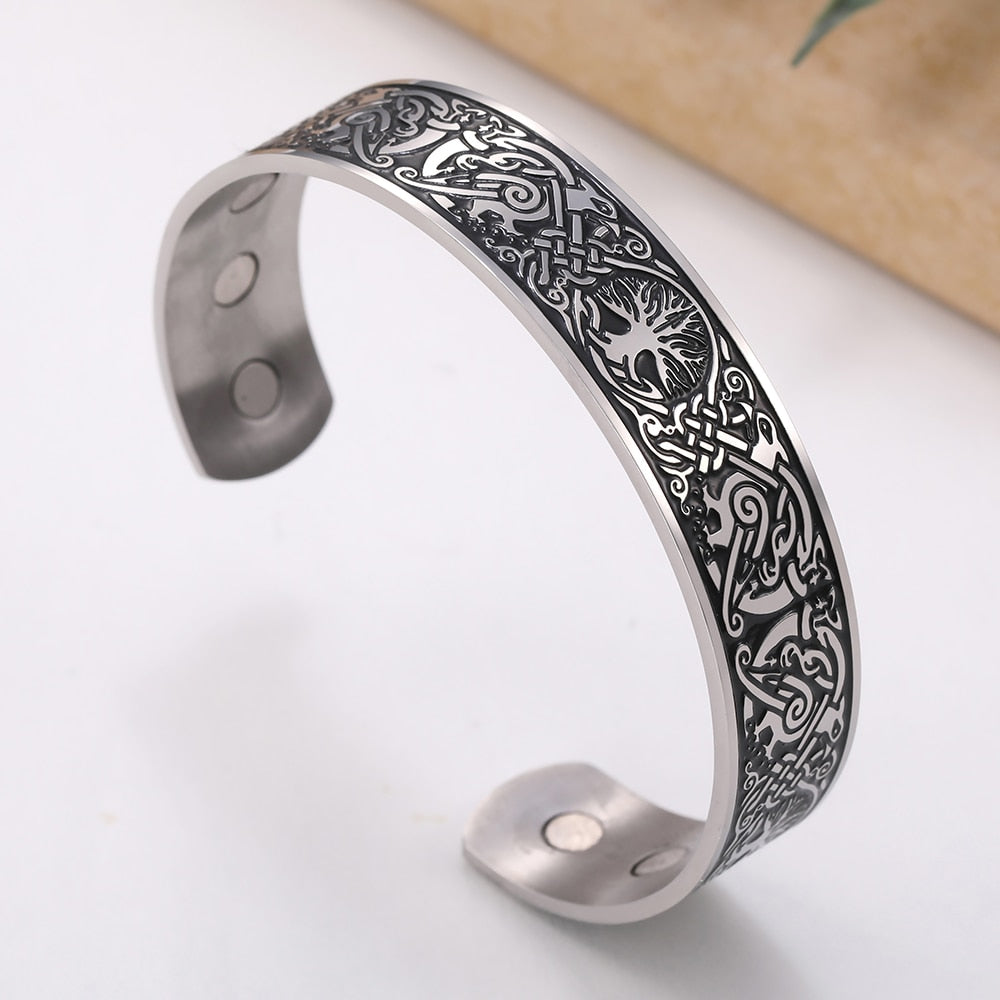 Viking Bangles Endless Love Knots Tree of Life Birds 316L Stainless Steel Cuff Magnetic Bangle
