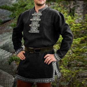 Medieval Knight Warrior Costume Shirt Tunic Long Sleeves Adult Men Nordic Viking Tops Larp Cotton Print Cosplay Outfit Plus Size