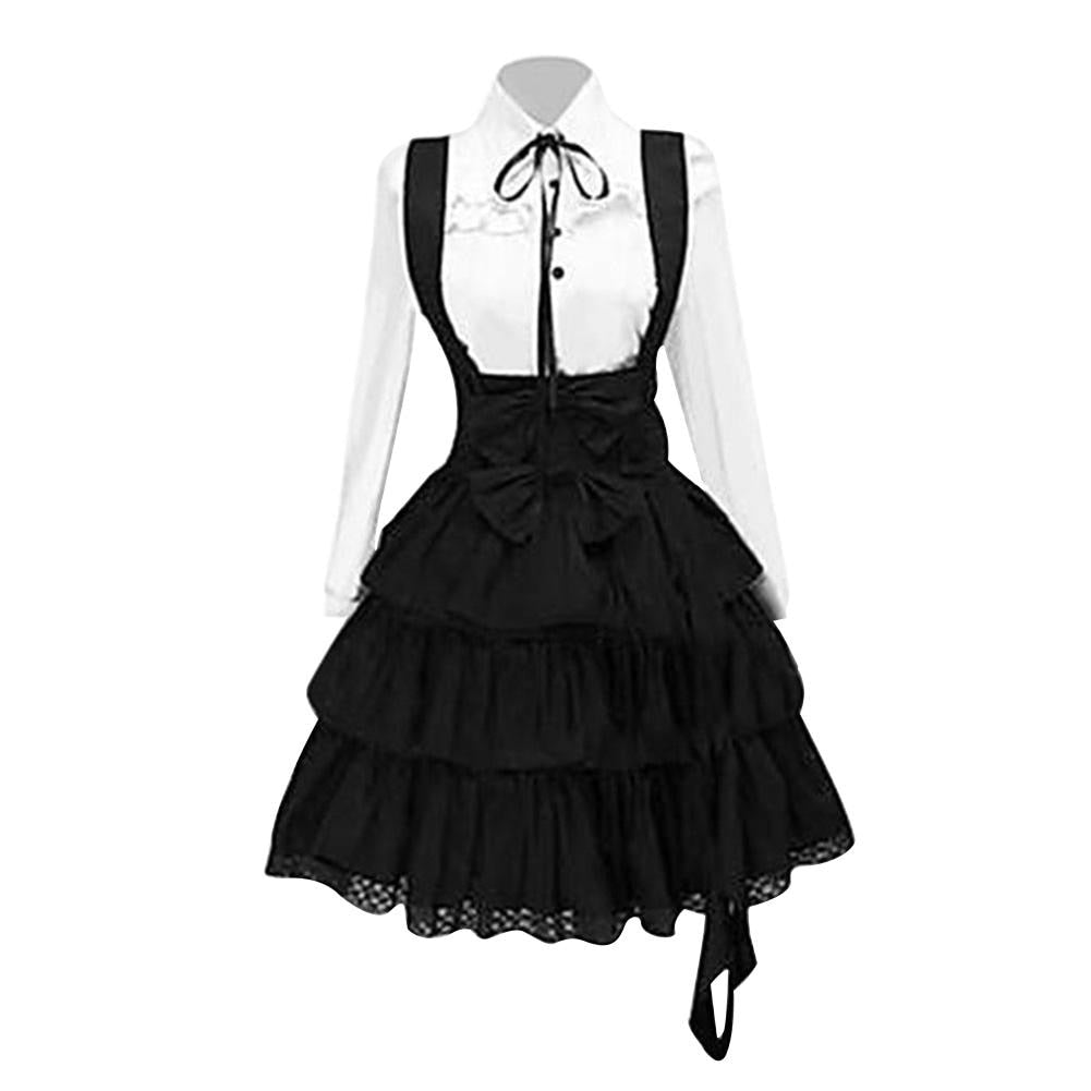 Hot apparel Lady Medieval Retro Court Cake Dress Gothic Lolita Bowknot Long Sleeve Costume