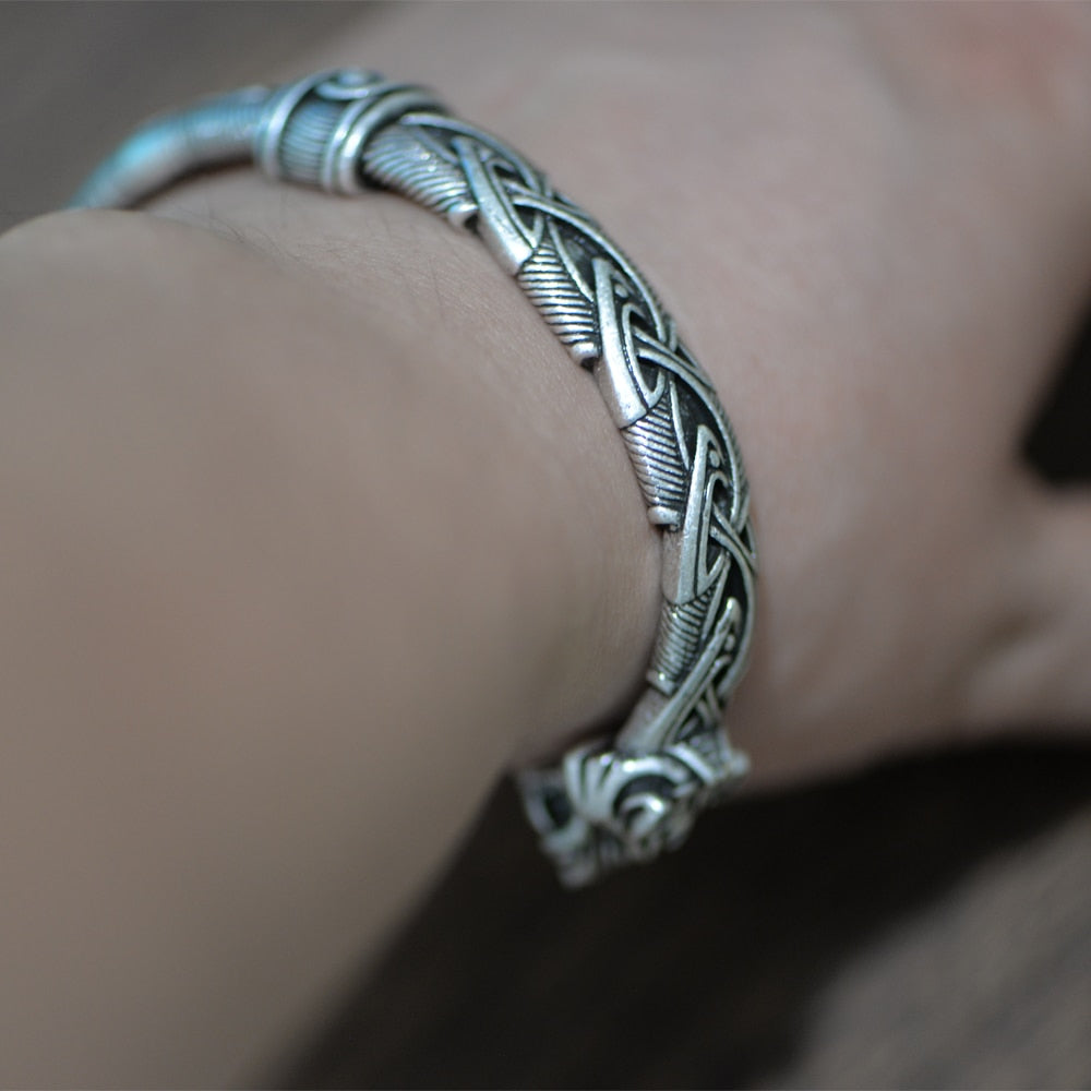 Viking and Bangle Wolf Head Bracelet