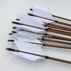 6/12/24pcs  Bamboo Arrows With 4pcs Feather Hunting Target Arrows For Recurve Traditional Longbow Archery