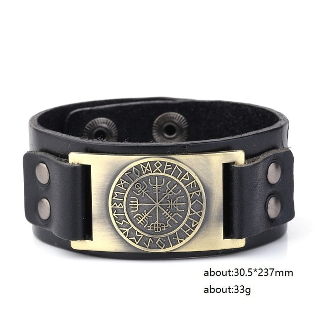 Vintage Viking Compass Genuine Leather Wristband