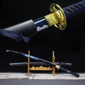 Real steel japanese katana sword blue color blade sharp edge 1060 high carbon steel wooden sheath cut bottles and bamboo