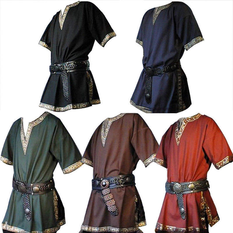 Adult Men Medieval Knight Warrior Costume Green Tunic Clothing Norman Chevalier Braid Viking Pirate Saxon LARP Top Shirt For Men
