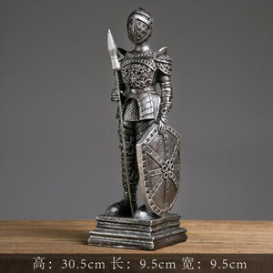 Medieval European Tin Samurai Warrior sculpture Doll Cavalry Soldier Knights Soldier Tin resin statue Home Decorations