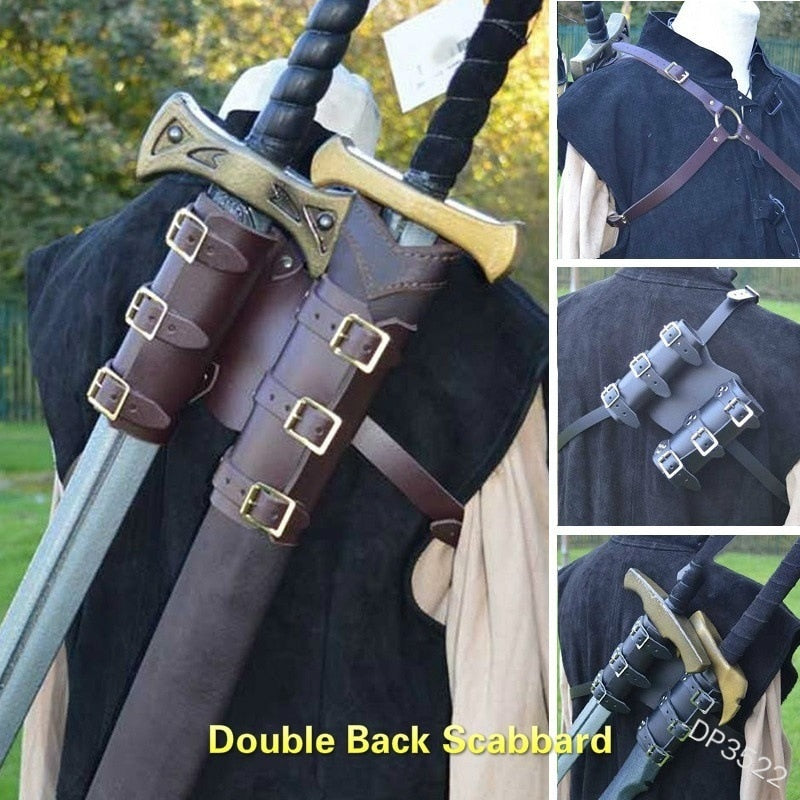 Medieval Knight back Double scabbard Shoulder Strap Sword Holder Sheath Scabbard Frog Adult Leather Kit Gear Weapon Costume Prop