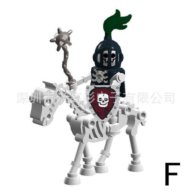 Medieval Castle Knights Figures Crusaders Rome Soldier Spartacus warrior Gladiatus Skeleton Horse Shield Building Blocks Toys