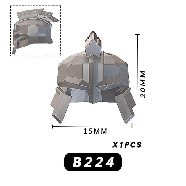 Medieval Knight dwarf weapons shield helmet Pistol Soldier for 4cm mini dolls MOC building blocks brick toys for children