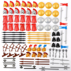 MOC Medieval Castle Knight Military Weapons Building Block Roman Figures Army Soldiers Shield Helmet Parts Accessories Wars Toys