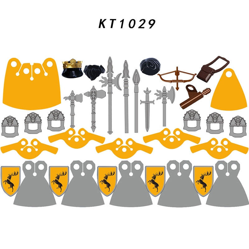 8 pcs Game of T Baratheon shield helmet archer lancer Medieval Knight Action Figures Building Blocks Kids Toys For children