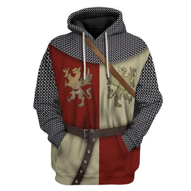Hoodie Custom Retro medieval Polish Knight Apparel Harajuku Fashion Sweatshirt Unisex Cosplay Casual Zip Jacket