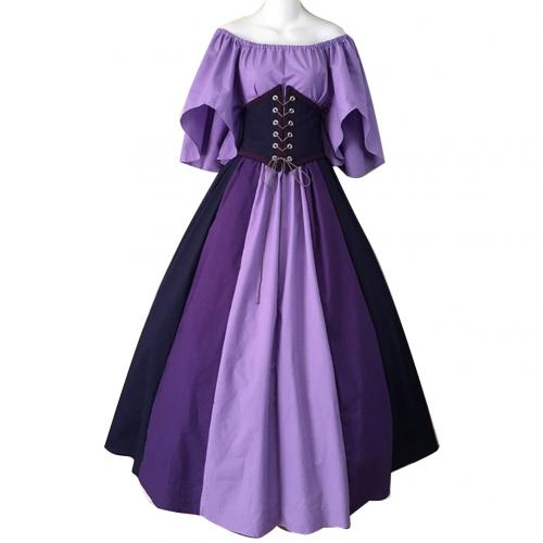 Hot apparel Lady Medieval Patchwork Corset Large Swing Off Shoulder Maxi Dress Party Costume