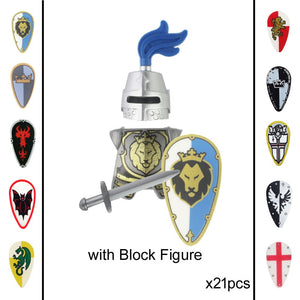 21pcs Medieval Age Castle Royal King's Knight Blue Lion Knights Armor Rome Warrior Building Block Mini Figure General Bodyguard