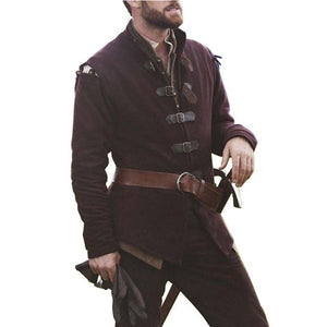 Medieval Men Knight Warrior Costume Coats Tunic Norman Chevalier Army Viking Pirate Reenactment LARP SCA Tops Jackets For Men