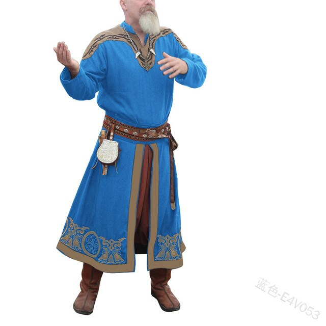 Medieval Larp Viking Costume Mens Tunic Dress Long Shirt Noble Warrior Knights Armor Tops Coat Nordic Outfit For Adult Plus Size