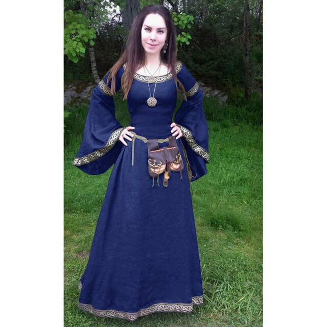 Women Costume Round Neck Flared Sleeves Tunic Medieval Ladies Dress  Plus Size Adult Halloween Costume Retro Party Dress