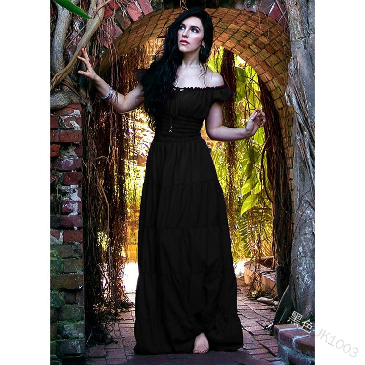 Women Vintage Renaissance Gothic Dress Floor Length Cosplay Costume Medieval Retro Gown Women Tunic Long Dress Plus Size S-5XL