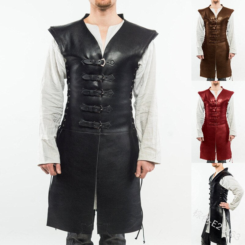 Armor Medieval Coats Leather Retro Cosplay Outfit Adult Stage Play Warrior Knight Costume Strap Lace Up Jerkin Tunic For Men