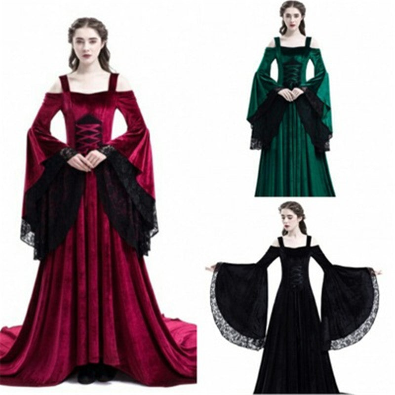 Women Vintage Renaissance Princess Long Dress S-2XL
