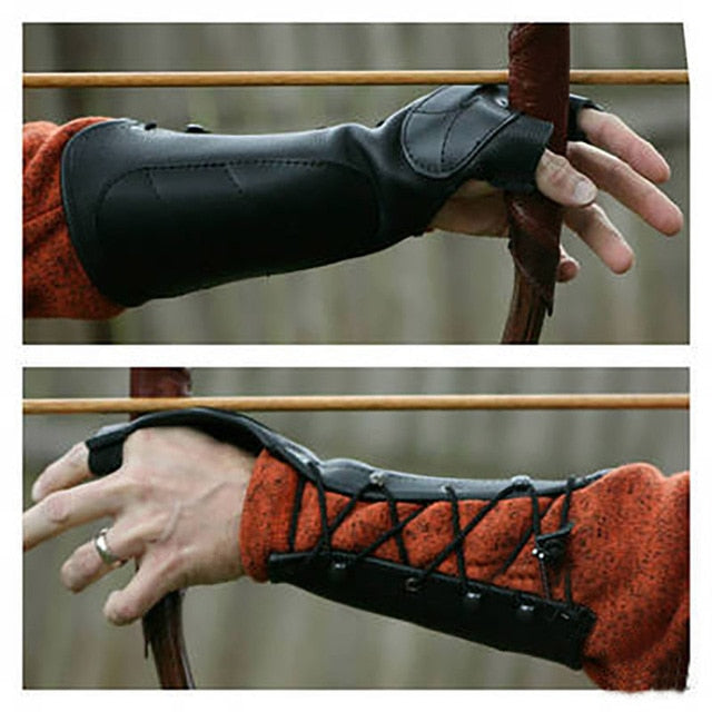 Medieval Renaissance Archer Archery Vambrace Shooting Glove SCA LARP Festival Hunter Cosplay Arm Guard Hand Armor Leather Bracer