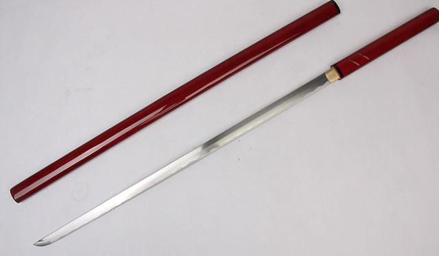 Martial Arts Supply For Handmade ZATOICHI  Japanese Shirasaya Samurai Katana Sharp Sword 1045 Carbon Steel Red/Black