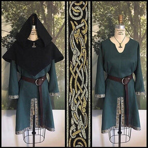 Mens Linen Viking Horseback Tunic with Celtic Knotwork Trim Medieval Short Sleeve Shirt Renaissance Faire Male Tops(without Hat)