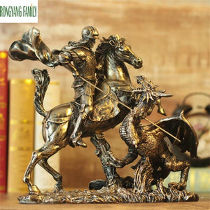 Ancient Roman Knights Sculpture European Retro Resin Ornaments Character Armor Warrior Statue Home Desktop Decoration Figurine