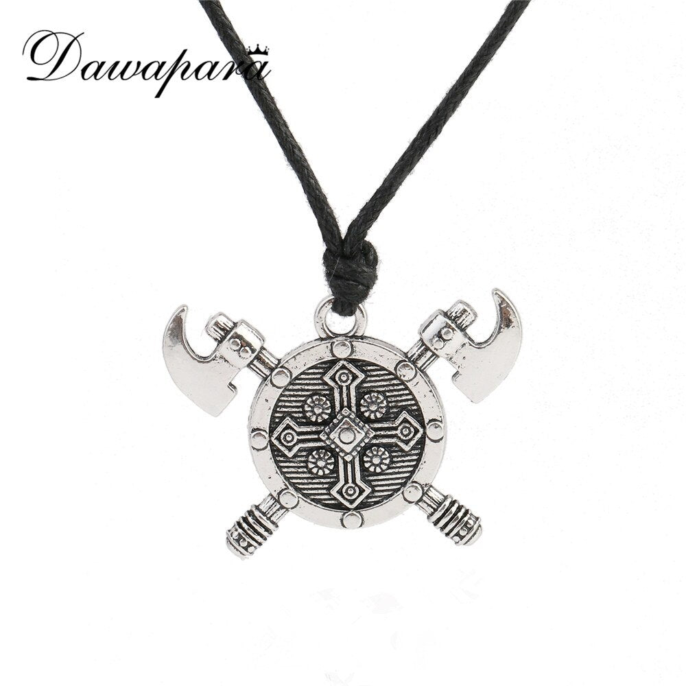 Dawapara Double Axes Shield Barbarian Viking Cross necklace Gladiator Medieval Knight Pewter Pendant Necklace Man Jewelry