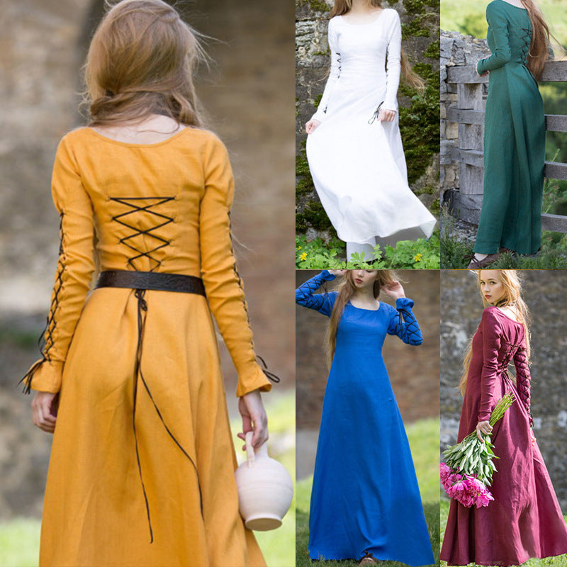 Women Fashion Long Sleeve Lace Up Medieval Long Linen Dress Tunic Renaissance Vintage Princess Dress Maxi Dress Women Costume
