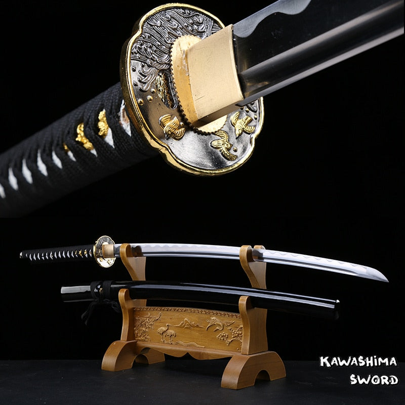 41 Inch-Japanese Katana Real Steel Blade Hand forged Full Tang Black Glossy Sheath Razor Sharp