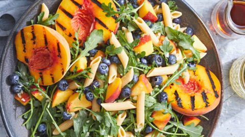 grilled peach and blueberry pasta salad forks over knives