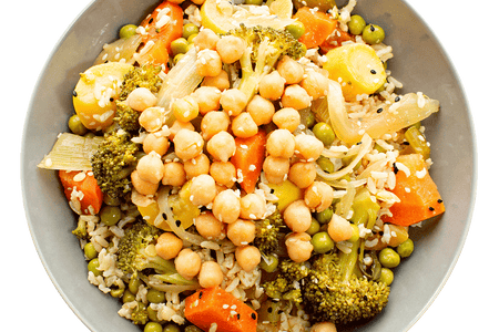 General Tso's Vegetables with Sesame Chickpeas