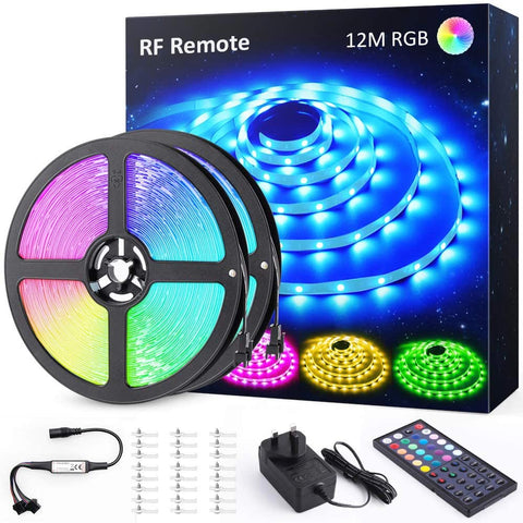 12M 40ft RGB LED Strip Lights, RF Remote Control Color Changing Gaming Room Strip Lights, TikTok Light Strip