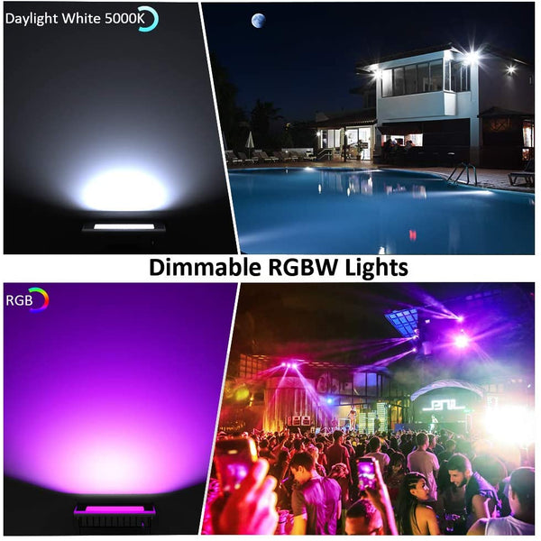 100W RGBW 5000K 10000LM WiFi Smart LED Flood Lights, IP66 Waterproof Outdoor Light