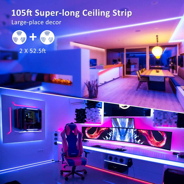 32M LED RGB Strip Lights, 105ft RF Control RGB Color Changing TikTok Strip Lights