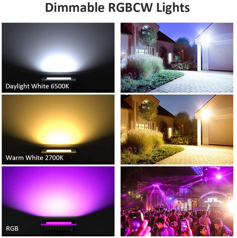 2 Pack 20W RGBCW 2700-6500K 2000LM WiFi Smart LED Flood Lights, IP66 Waterproof Outdoor Light
