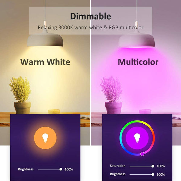 4 Pack 9W B22 Alexa RGBW Dimmable WiFi LED Smart Light Bulbs