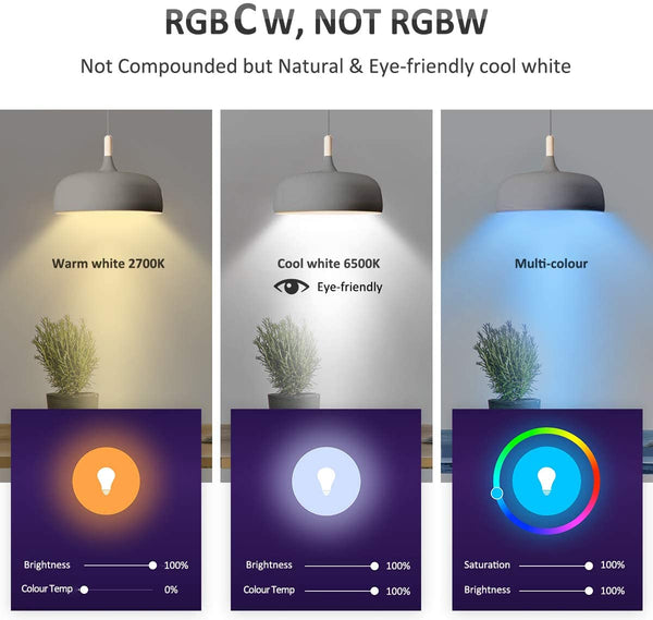 3 Pack 7W Alexa RGBCW 2700-6500K Tunable White WiFi Smart Light Bulbs