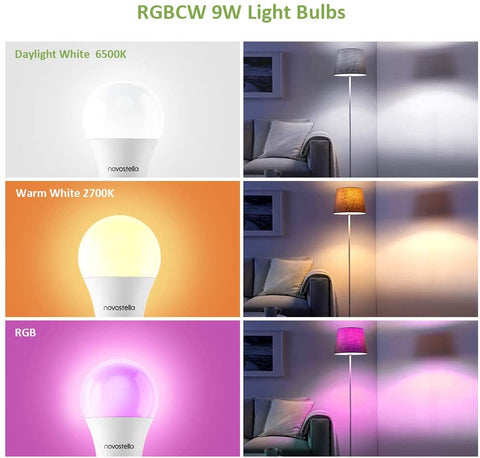 2 Pack 9W Wi-Fi RF Control RGBCW Smart Light Bulbs