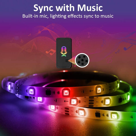 6M 20ft Music Sync RGB LED Strip Lights, Waterproof Rainbow Chasing TikTok Strip Lights