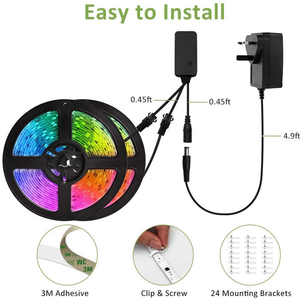 12M 40ft Music Sync RGB LED Strip Lights, Waterproof Rainbow Chasing TikTok Strip Lights