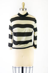 Black and White 3/4 Sleeve Knit Top