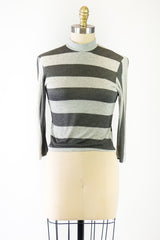 Black and Gray 3/4 Sleeve Knit Top