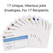 Load image into Gallery viewer, Pack of 17 Funny Prank Envelopes - Gag Gift Practical Jokes And Pranks For Adults
