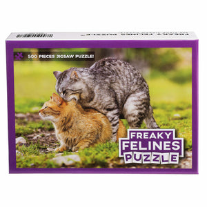 Freaky Felines Puzzle – Funny Prank Gag Gift for Cat Lovers and Owners – 500 Piece Jigsaw Puzzle