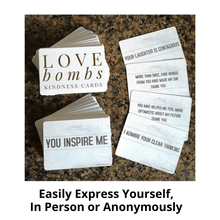 Load image into Gallery viewer, Love Bombs Kindness Cards, Sincere Appreciation, Compliment & Encouragement Cards. Gratitude Gifts for Couples, Families & Friends