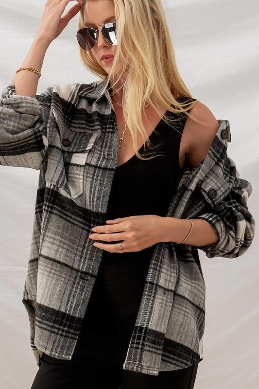 'Want you so Plaid' Oversized Flannel Shacket - Lylah's