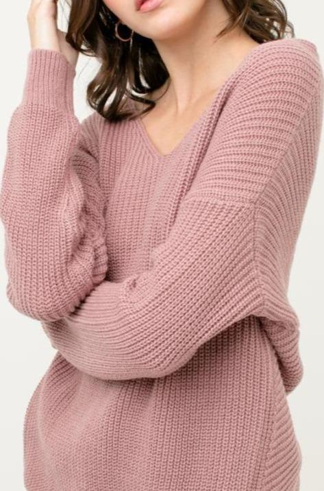 Dusty Rose Open Back Sweater - Lylah's