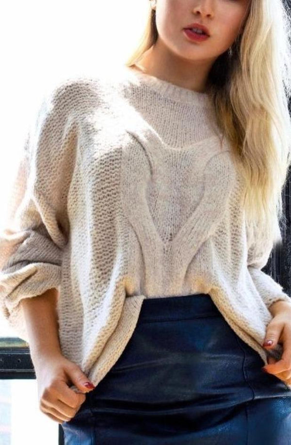 Leah Cable Knit Oversized Sweater - Lylah's